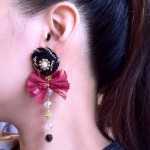 [LADIES ACCESSORIES] CHOCO GLIM KNIT&RIBBON PIERCE