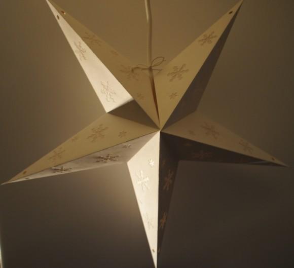 星型ランプシェード ホワイトスノーフレークパンチ OFF