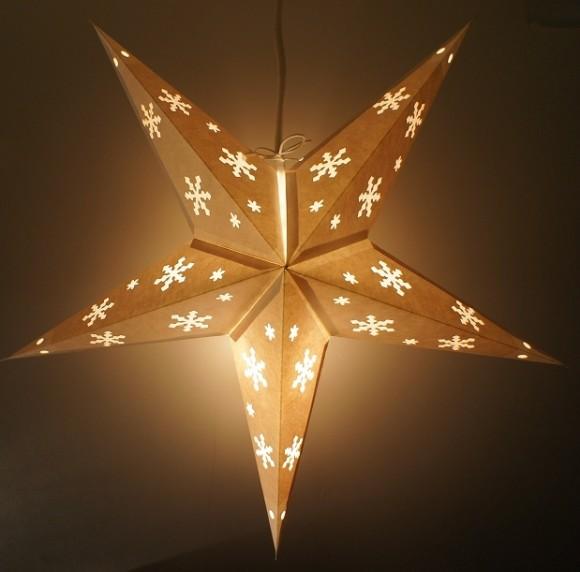 星型ランプシェード ホワイトスノーフレークパンチ ON